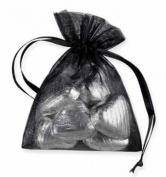 10 ORGANZA PULL STRING FAVOUR BAGS - JEWELLERY POUCHES - 10cm x 7.5cm - BLACK