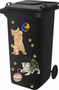 Wheelie Bin Self Adhesive Sticker Kit, Cat Design