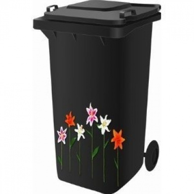 Wheelie Bin Self Adhesive Sticker Kit, Lilly Design