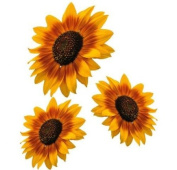 3 x Sunflower Flower Car,Camper Van Stickers Decals