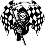 Racing Grim Reaper Skull Chequered Flags Car Sticker #3