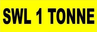 SWL 1 Tonne Warning Sticker/ Decals Plant Safety Sign
