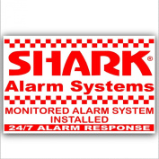 6 x Shark Property Protected Stickers-Red On White-Monitored Alarm System for-24hr Security Response Warning Signs for House,Home,Flat,Business,Unit,Property-External Application Self Adhesive Vinyl