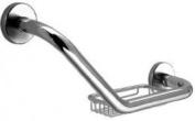 (052967) Sonia Tecno Angled Grab Rail With Basket - Chrome