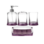 BRAND NEW 4PC ACRYLIC BATHROOM SET IN PURPLE CLEAR, LOTION DISPENSER, TOOTHBRUSH HOLDER, TUMBLER AND SOAP DISH