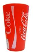 NEW OFFICIAL 2 RETRO STYLE RED COKE COCA COLA PLASTIC CUP TUMBLER BEAKER 13 x 8 CM