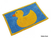 Homescapes Rubber Duck Bath Mat, 45 X 75 cm, 1400 GSM rug in 100% Cotton, Non Slip Spray Back, Washable at Home