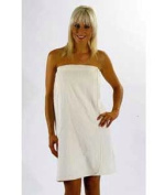 Ladies Towelling Sarong / Bath Towel Wrap, CREAM Colour, 100% Cotton hook and loop fastening