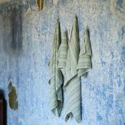 Olive Green Linen Bath Towels Set Multistripe