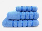 100% Pure Cotton Luxury Savoy Stripe Blue Hand Towel - 550gsm, 50x85cms