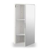 White Gloss Wall Hung Corner Bathroom Cabinet with Single Mirrored Door