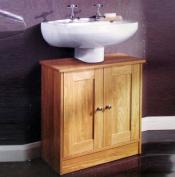 Blanca Floor Standing Oak Wood Under Sink Cabinet Storage Unit Shelf Rack with Chrome Handles