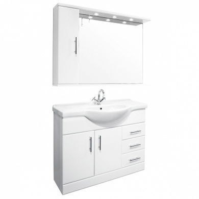 Bathroom Vanity Units New Zealand 1050mm white gloss bathroom vanity unit with mirror cabinet and