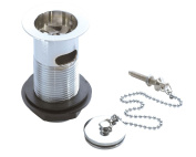 Chrome Slotted Basin Waste, Chrome Sink Plug and Ball Chain with Stay