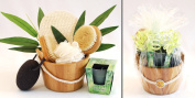 birthday giftset BAMBOO with massage brush and bamboo scent candle as well as a nail brush and massage pillow