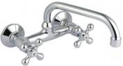 Kitchen / Bathroom Wall-mount Traditional Water Mixer Tap Cross Head C-type