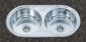 Kitchen Sinks Inset Double Round Bowl (P01) Polished Finish