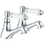 Traditional Chrome Bath Taps (Swan 3) Pair of hot and cold bathroom taps from Grand Taps UK
