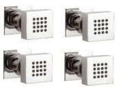 . Square Solid Brass Chrome Plated Modern Wall Mounted Bathroom Shower Body Jets 4 Pack