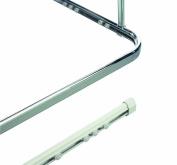 Spirella Surprise Corner Enclosure Shower Curtain Rail Oval Profile With Hidden Track Enclosure Size 170 cm x 75 cm Diameter 40 mm x 17 mm, Aluminium White