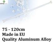 New Telescopic Extendable White Shower Curtain Rod Rail - 75cm - 120cm