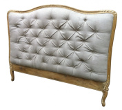 French Style Shabby Chic Upholstered Headboard King Size in Retro Touch finish. Upholstery in Natural Linen.