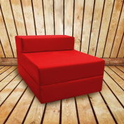 Shopisfy Children's Wipe Clean Single Fold Out Foam Chair Bed / Mattress - Red