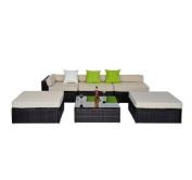 6pc Deluxe Rattan Furniture Wicker Conservatory Outdoor Garden Patio Corner Sofa Aluminium Set