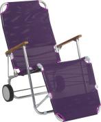 Stern 440712 Beach Chair Portable Aluminium Frame with Teak Armrests Textile Cover Aubergine