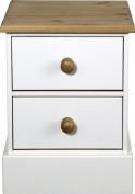 Bedside Cabinet with 2-Drawers and Pine Handles, White
