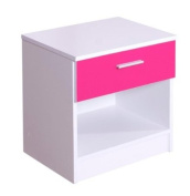 High Gloss Ottawa Caspian Pink / White Bedside Cabinet Only