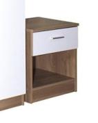 High Gloss Ottawa Caspian White / Oak Bedside Cabinet Only