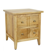Homescapes Groove Oak Shade Solid Mango Wood Lamp Table with Drawers and Adjustable Shelf - Bed Side Table with 100% Solid Wood and Brass Knobs