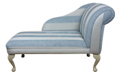 Beautiful Chaise Longue in Duck Egg Blue Stripe 110cm