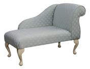 Gorgeous Duck Egg Blue Mini Chaise Longue in Chenille Damask
