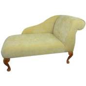 100cm Mini Chaise Longue in a Yellow / Lemon Velvet Chenille Fabric