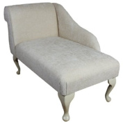 100cm Mini Chaise Longue in a Pearl Chenille Fabric