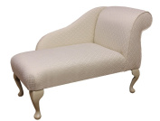 Gorgeous Mini Chaise Longue in an Ivory / Oyster Diamond Chenille Damask