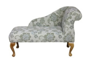 100cm Mini Chaise Longue in a Fabulous green floral celadon fabric