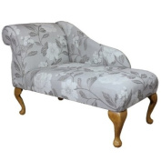 100cm Mini Chaise Longue in a Grey and White Floral Fabric