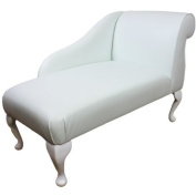 100cm Mini Chaise Longue in a White Faux Leather
