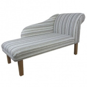 130cm Chaise Longue in a Green / Grey Stripe Fabric