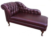 Gorgeous Deep Buttoned Oxblood Leather Chaise Longue
