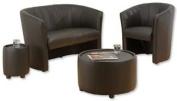 Sonix Tub Reception Small Table Leather Dia330xH380mm Black