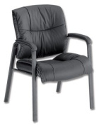 Sonix Camden Visitors Chair H500mm W520xD540xH460mm Leather Black
