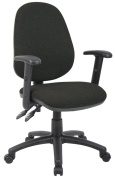 Fabric Operator seating - 2 Lever Operator Chair - Adjustable Arms - Black (V102-00-K) H995xW1125xD590