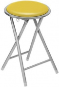 Round Seat Folding Stool Flodable Breakfast Chair Stools With Silver Frame / Legs