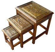 Chinese Oriental Furniture - Handcarved Nest of 3 Tables with Glass in Teak Finish