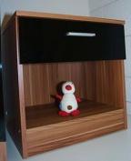 High Gloss Ottawa Caspian Black / Walnut Bedside Cabinet Only