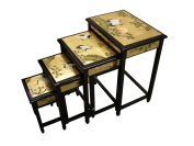 Chinese Oriental Furniture - Gold Leaf Nest of Tables, Cranes